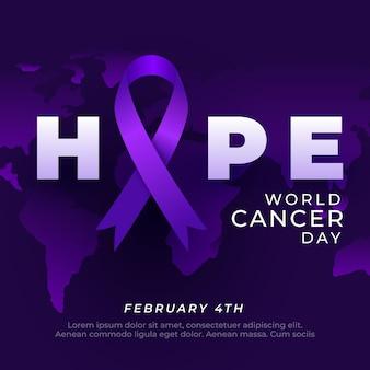 Kleurovergang wereld kanker dag illustratie met lint