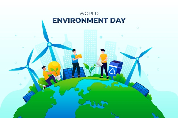 Kleurovergang wereld milieu dag illustratie