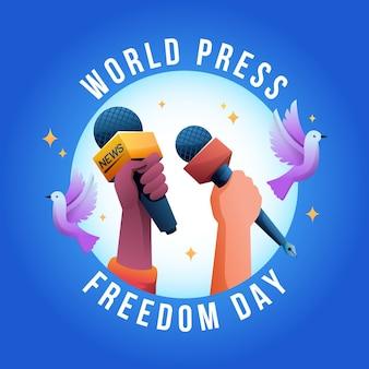 Kleurovergang wereld persvrijheid dag illustratie