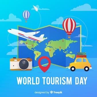 Kleurovergang wereld toeristische dag kaart met vervoer