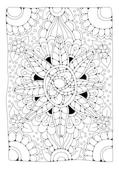Kleurplaat bloemenornament art line