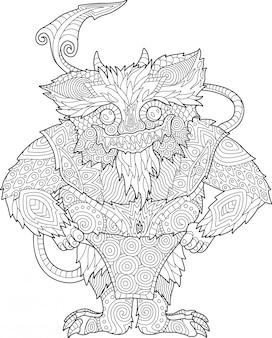 Kleurplaat boekenpagina met grappige cartoon monster