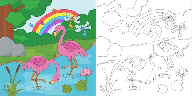 Kleurplaat flamingo