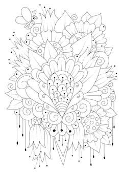 Kleurplaat illustratie met bloemen en een vlinder