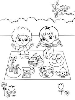 Kleurplaat in picknickthema vrijetijdsactiviteit voor kinderen