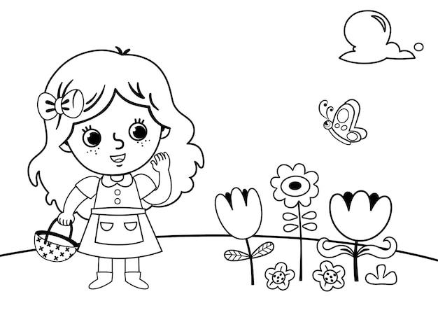 Kleurplaat in tuinconcept met een klein meisje vectorillustratie