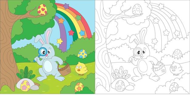 Kleurplaat konijn op zoek naar paaseieren illustratie
