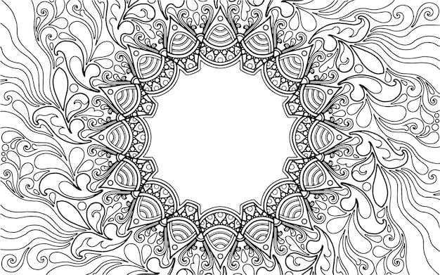 Kleurplaat mandala-ontwerp met tekstruimte