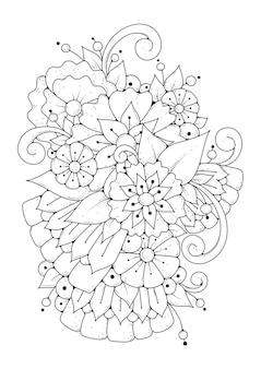 Kleurplaat met abstracte bloemen
