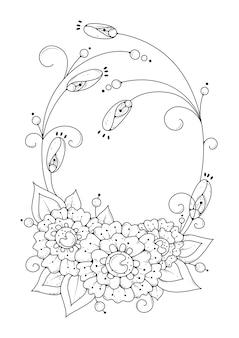 Kleurplaat met bloemen