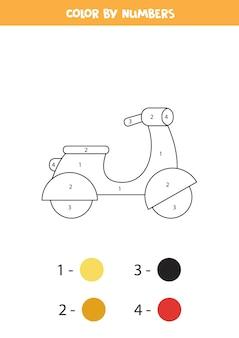 Kleurplaat met cartoon bromfiets. kleur op nummer. rekenspel voor kinderen.