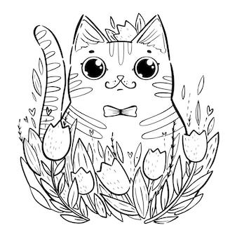 Kleurplaat met cartoon kat met tulpen.