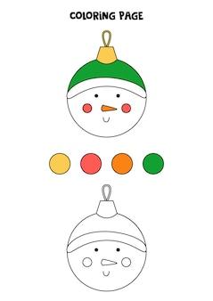 Kleurplaat met cartoon kerst sneeuwpop bal. werkblad voor kinderen.