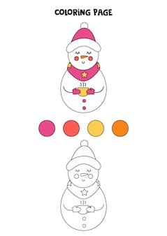 Kleurplaat met cartoon kerstsneeuwman. werkblad voor kinderen.
