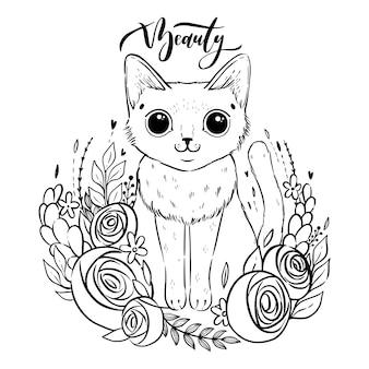 Kleurplaat met cartoon pluizige kat met rozen. siamese kat met open ogen en bloemen.