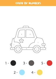 Kleurplaat met cartoon politieauto. kleur op nummer. rekenspel voor kinderen.