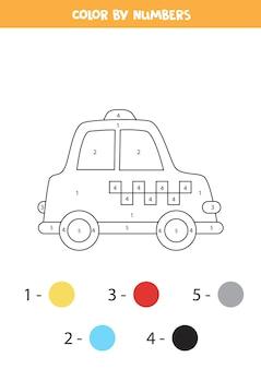 Kleurplaat met cartoon taxi. kleur op nummer. rekenspel voor kinderen.