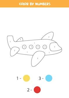 Kleurplaat met cartoon vliegtuig. kleur op nummer. rekenspel voor kinderen.