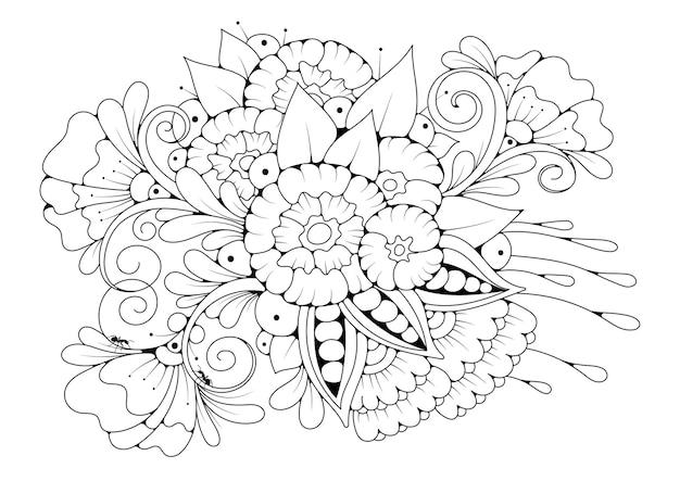 Kleurplaat met delicate bloemen en knoppen.