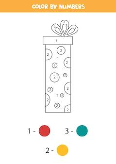 Kleurplaat met doos met kerstcadeautjes. educatief kleurenspel voor kinderen.