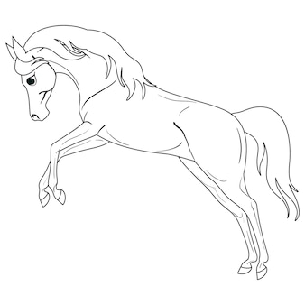 Kleurplaat met paard. schilderen voor kinderen.