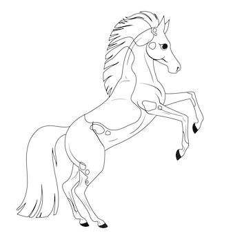 Kleurplaat met paard voor kinderen. lineaire tekening om in te kleuren. geïsoleerde vectorillustratie.