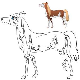 Kleurplaat met paard voor kinderen. lineaire tekening om in te kleuren. vector illustratie
