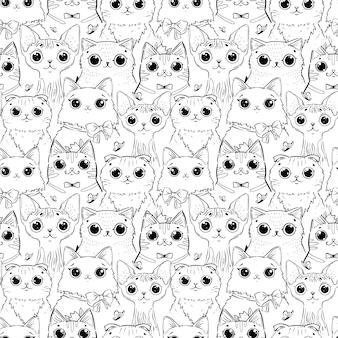 Kleurplaat met patroon van verschillende cartoon hoofden van katten.