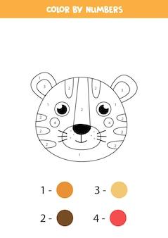 Kleurplaat met schattig tijgergezicht. kleur op nummer. rekenspel voor kinderen.
