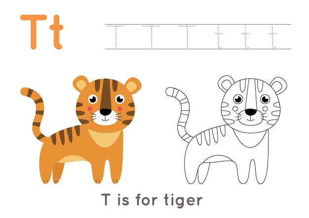 Kleurplaat met schattige cartoon tijger. alfabet overtrekwerkblad met letter t. handschriftoefening voor kinderen.