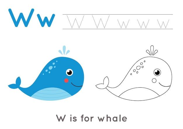 Kleurplaat met schattige cartoon walvis. alfabet overtrekken werkblad met letter w. handschriftoefening voor kinderen.