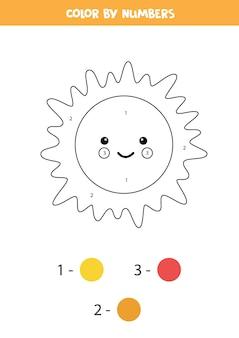 Kleurplaat met schattige kawaii sun. kleur op nummer. rekenspel voor kinderen.