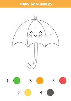 Kleurplaat met schattige paraplu van kawaii