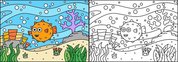 Kleurplaat met schattige vissen in de zee voor kinderen