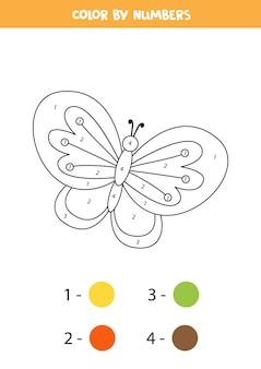 Kleurplaat met schattige vlinder. kleur op nummer. rekenspel voor kinderen.