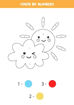 Kleurplaat met schattige wolk en zon. kleur op nummer. rekenspel voor kinderen.