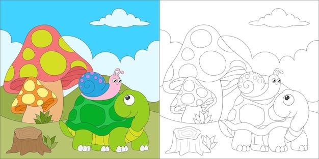Kleurplaat met schildpad en slak