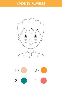 Kleurplaat op nummer met cartoon jongen educatief wiskundespel voor kinderen