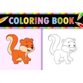 Kleurplaat paginaoverzicht van cartoon eekhoorn. kleurrijke illustratie, kleurboek voor kinderen.