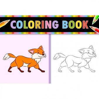 Kleurplaat paginaoverzicht van cartoon fox. kleurrijke illustratie, kleurboek voor kinderen.