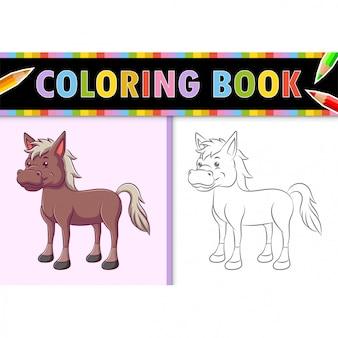Kleurplaat paginaoverzicht van cartoon paard. kleurrijke illustratie, kleurboek voor kinderen.