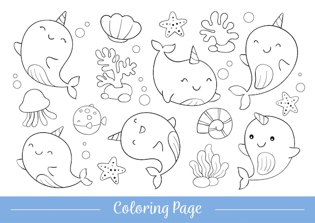 Kleurplaat schattige narwal doodle cartoon