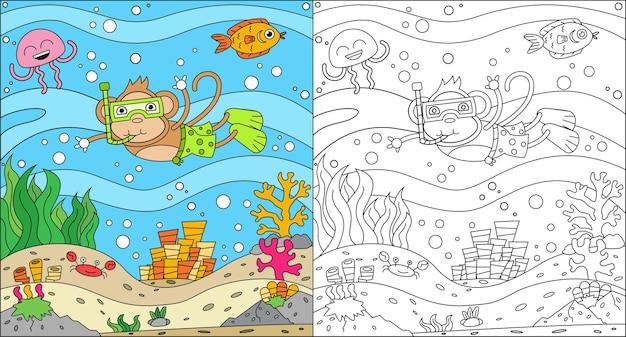 Kleurplaat van apen die in de zee zwemmen voor kinderen