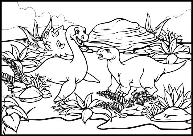 Kleurplaat van cartoon dinosaurus wereld