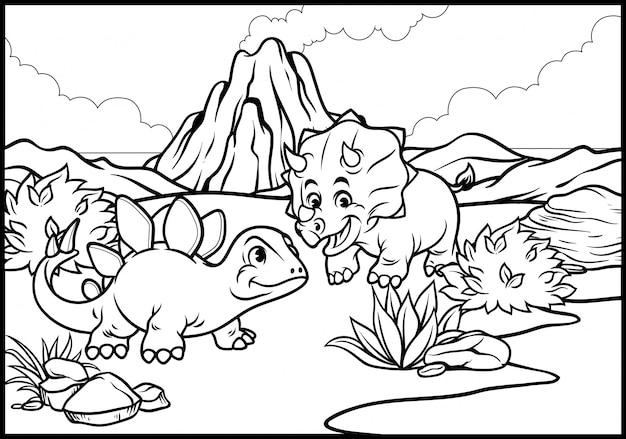 Kleurplaat van cartoon triceratops en stegosaurus
