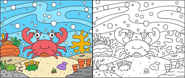 Kleurplaat van schattige krab in de zee voor kinderen