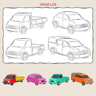 Kleurplaat van variatievoertuigen. stadswagen, dubbele cabine en minitruck