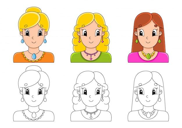 Kleurplaat voor kinderen instellen. leuke stripfiguren.