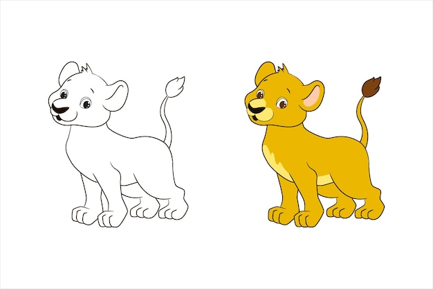 Kleurplaat voor kinderen, kleine leeuw. vectorillustratie in cartoon-stijl, geïsoleerde lijntekeningen