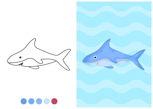 Kleurplaat voor kinderen met haai